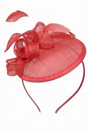 Coral Small Saucer Hat Fascinator With Aliceband Coral